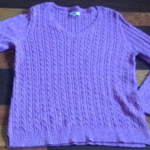 Crofts&barrow Sz L cable knit v-neck sweater Pink